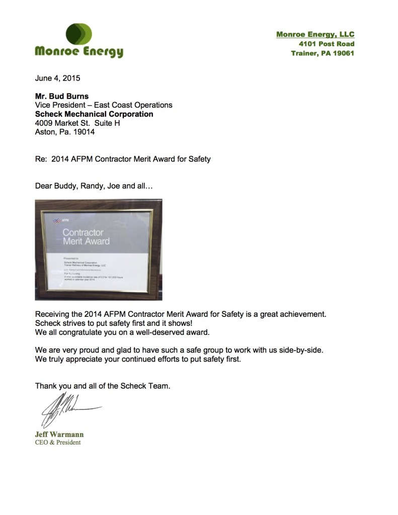 Read a letter from Monroe Energy recognizing Scheck Mechanical for the Contractor Merit Award